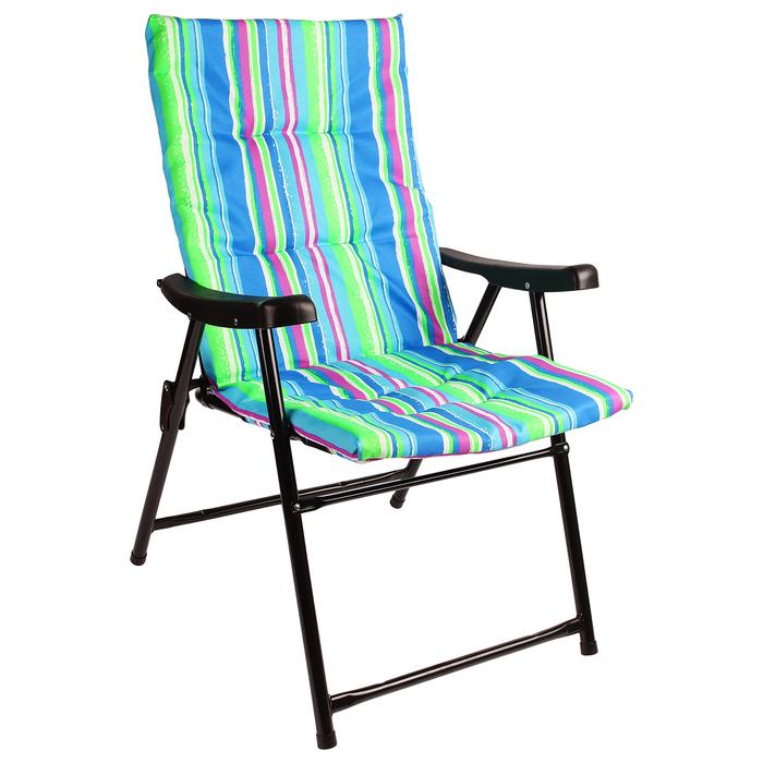 УЦЕНКА Кресло туристическое с подлокотниками, 54 х 60 х 91 см, до 100 кг, цвет голубой/зелёный