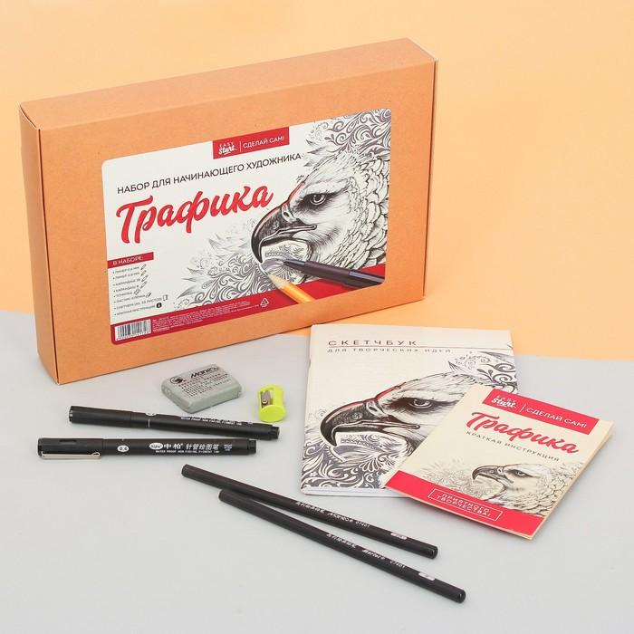 Набор для графики: линер 2 шт, карандаш 2 шт, точилка, ластик-клячка, скетчбук 30 л