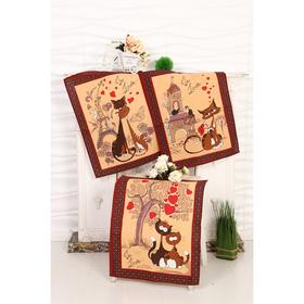 Набор вафельных полотенец Кошка 45х60 см - 3 шт (в коробке), коричневый, 170 гр/м, хл100%