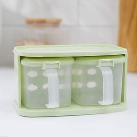 Набор банок для сыпучих продуктов, 16,5×10 см, 2 шт, с ложками, на подставке, цвет МИКС