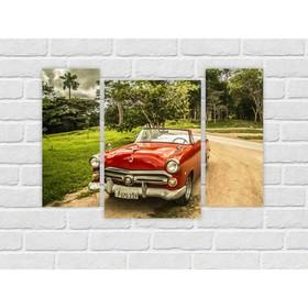 Модульная картина на экокоже 'Старый автомобиль' 1шт.-60х42, 2шт.-25х60 см, 96*70 см Ош