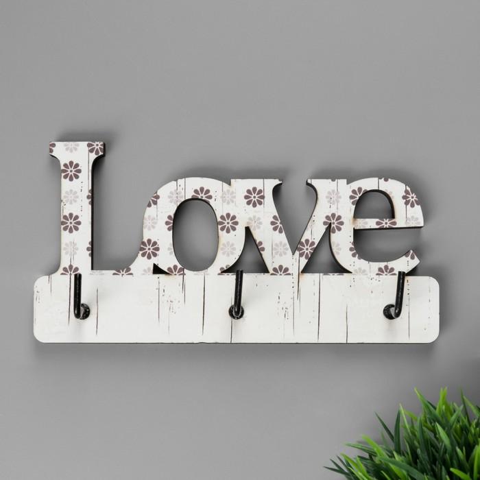 """Крючки декоративные фанера """"Love в цветочек"""" 8х14х2,5 см - фото 246912196"""