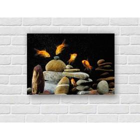 Картина на экокоже 'Золотые рыбки' 50*70 см Ош