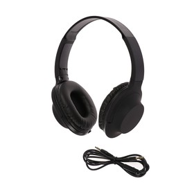 LuazON headphones, soft touch coating, wire 1 meter, microphone, folding, black