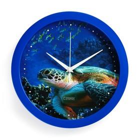 """Часы настенные, серия: Животный мир, """"Черепаха"""", плавный ход, d=28 см"""