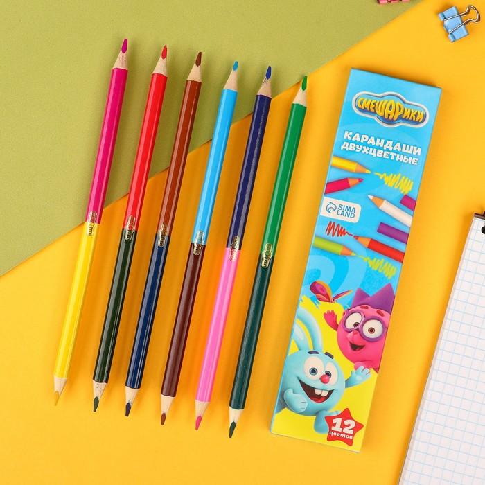 Двухсторонние цветные карандаши, 12 цветов, «Смешарики», 6 штук
