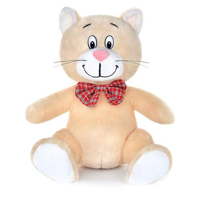 Мягкая музыкальная игрушка «Котик с бантиком», бежевый, 20 см