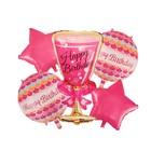 """Букет из шаров """"С днем рождения"""", бокал, фольга,  набор из 5 шт."""