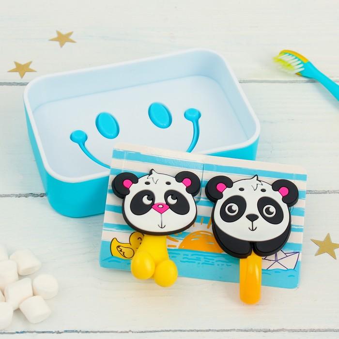 Набор «Панды», держатель для зубной щётки, крючок, мыльница., 13 х 9,5 см