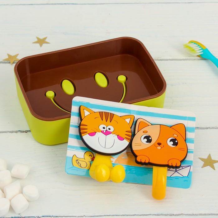 """Набор """"Котята"""", держатель для зубной щётки, крючок, мыльница, детский"""