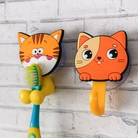 """Набор """"Котята"""", держатель для зубной щётки, крючок, мыльница, детский - фото 4650513"""