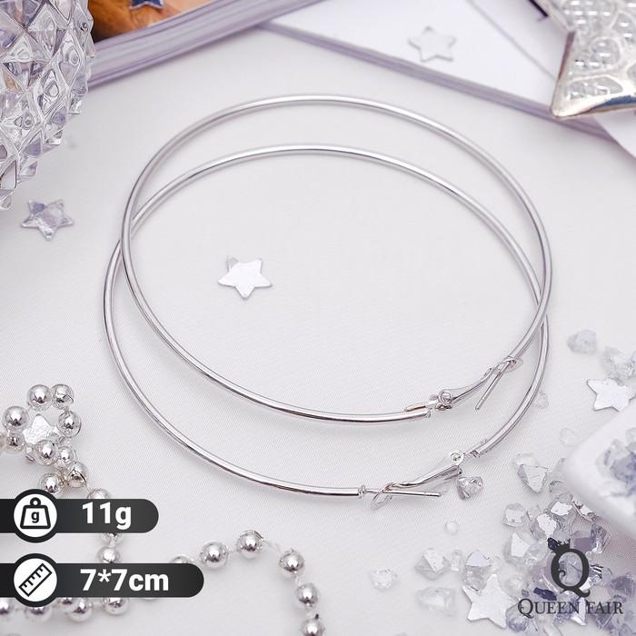 "Серьги кольца ""Классика"" d=7 см, цвет серебро - фото 7466830"