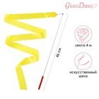 Лента гимнастическая 4 м с палочкой, цвет желтый