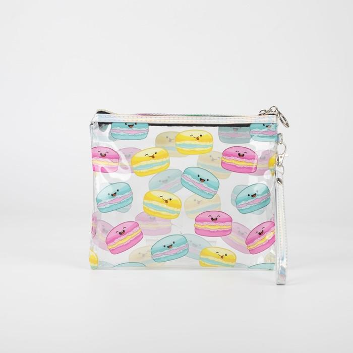 Косметичка простая, отдел на молнии, ручка, цвет разноцветный