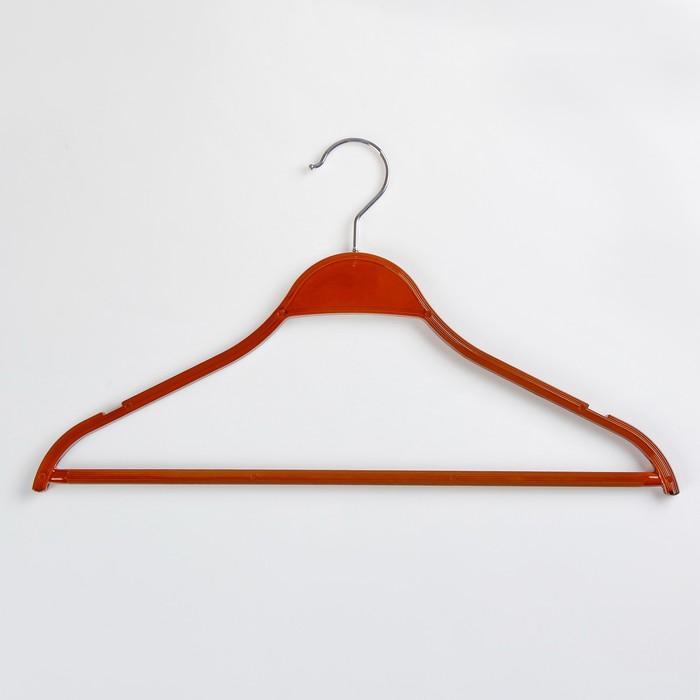 Вешалка-плечики для одежды с перекладиной, размер 44-46, цвет ореховый - фото 4642486