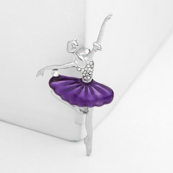 """Брошь """"Балерина"""" со стразами, цвет фиолетовый в серебре"""