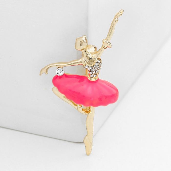 """Брошь спортивная """"Балерина"""" канкан, со стразами, цвет розовый в золоте"""