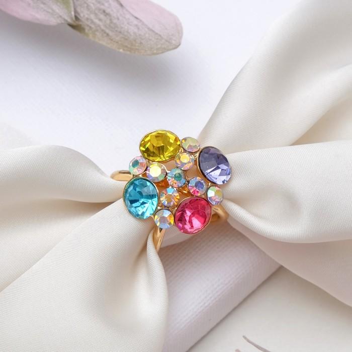 """Кольцо для платка """"Конфетти"""", цветное в золоте"""