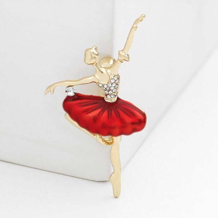 """Брошь спортивная """"Балерина"""" канкан, со стразами, цвет красный в золоте"""