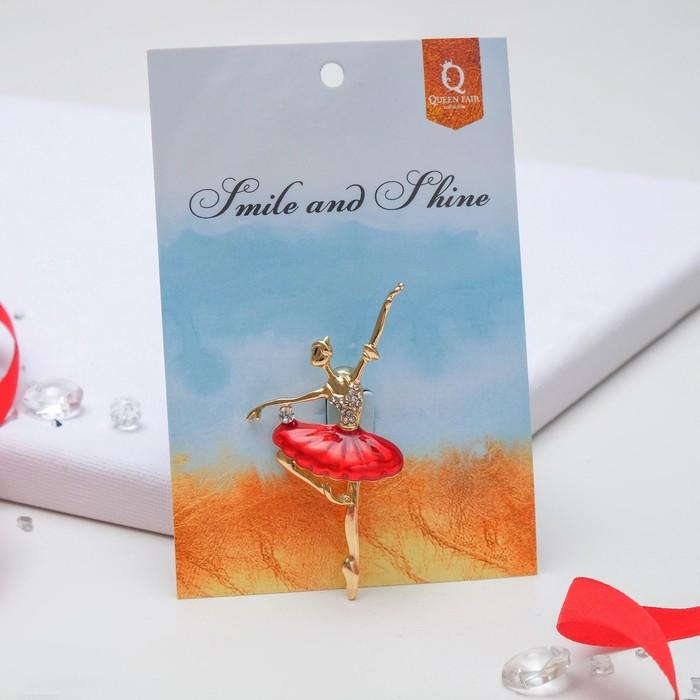 """Брошь """"Балерина"""" со стразами, цвет красный в золоте - фото 408645670"""