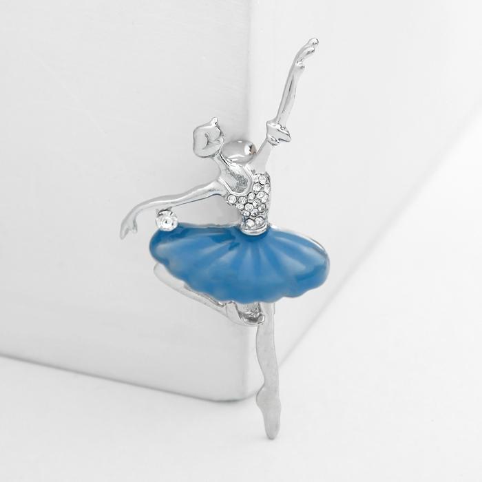 """Брошь """"Балерина"""" со стразами, цвет голубой в серебре"""