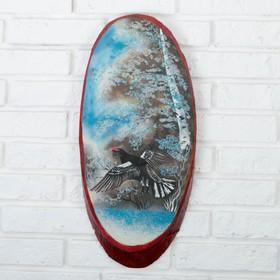 """Панно на спиле """"Зима.Глухарь"""", 52-56 см, каменная крошка, вертикальное"""
