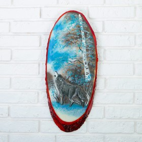Панно на спиле 'Зима.Волк', 52-56 см, каменная крошка, вертикальное Ош