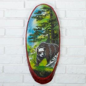 """Панно на спиле """"Лето.Медведь"""", 52-56 см, каменная крошка, вертикальное"""