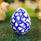 """Яйцо расписное """"Голубое с белым"""" 7 см"""