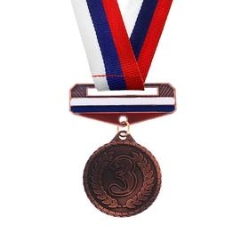 Медаль призовая с колодкой триколор, 3 место, бронза, d=3,2 см