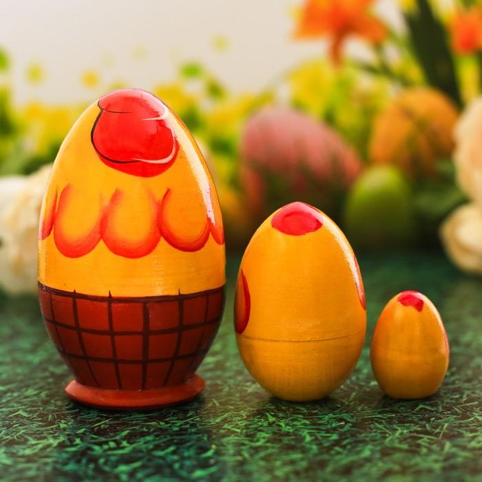 Пасхальная матрёшка 3-х кукольная «Цыплёнок», 10 см