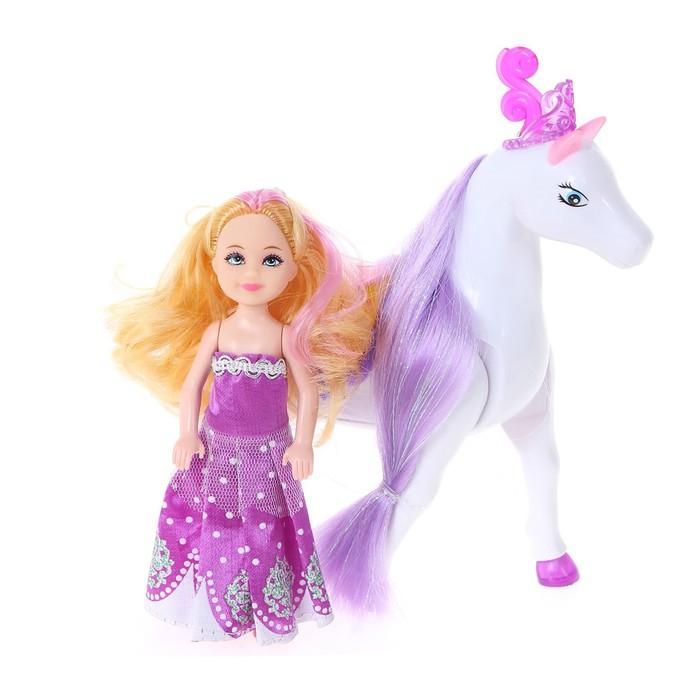 """Набор игровой """"Маленькая принцесса"""", лошадь ходит с куклой, в пакете"""