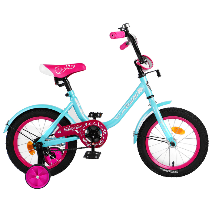 "Велосипед 14"" Graffiti Fashion Girl, цвет бирюзовый"