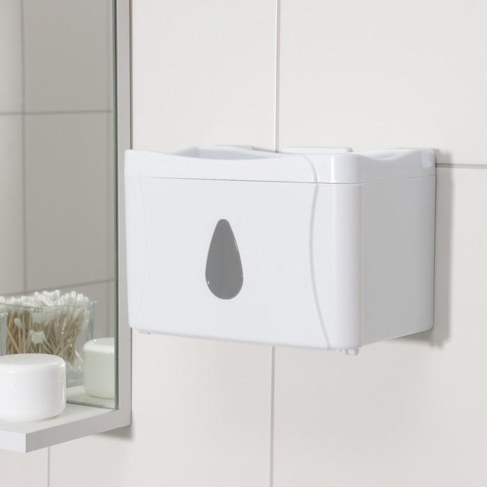 Диспенсер бумажных полотенец в листах и рулонах, 22×13×14 см, пластик, цвет белый