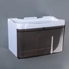 Диспенсер бумажных полотенец в листах и рулонах 22×13×14 см, пластик, цвет бело-коричневый