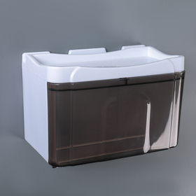 Dispenser of paper towels in sheets and rolls 22×13×14 cm, plastic, color white-brown