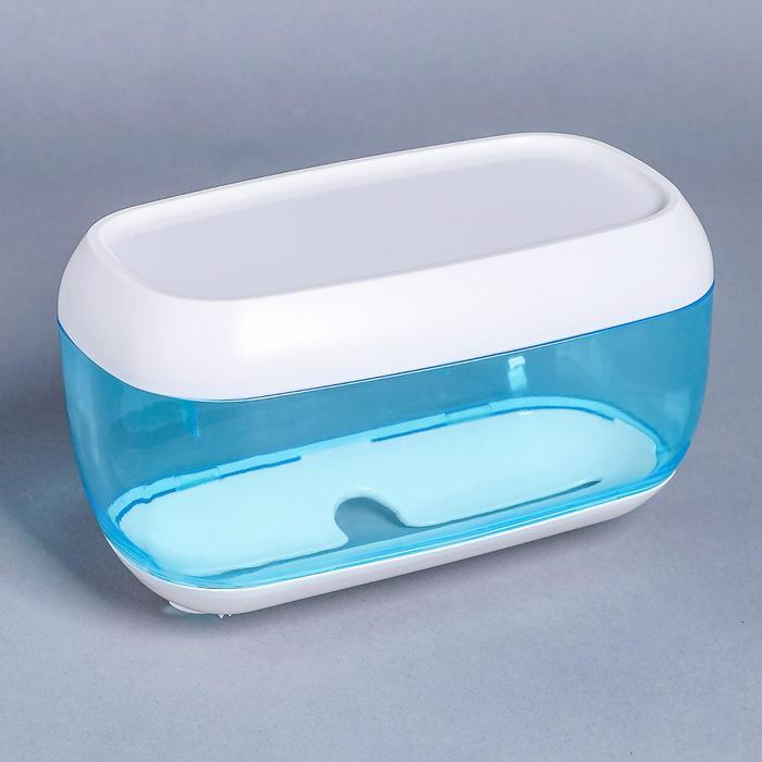 Диспенсер бумажных полотенец в листах, 23×13×14 см, пластик, цвет голубой