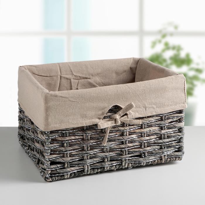 Корзина для хранения плетёная, большая, цвет серый - фото 308326520