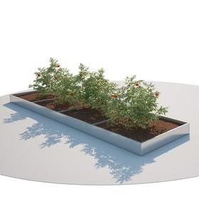 Грядка оцинкованная, 198 × 100 × 16 см, серая