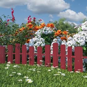 Ограждение декоративное из штакетника, 33 × 50 см, 1 секция, металл, коричневое