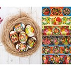"""Easter shrink wrap """"Zhostovo"""" on 6 eggs"""