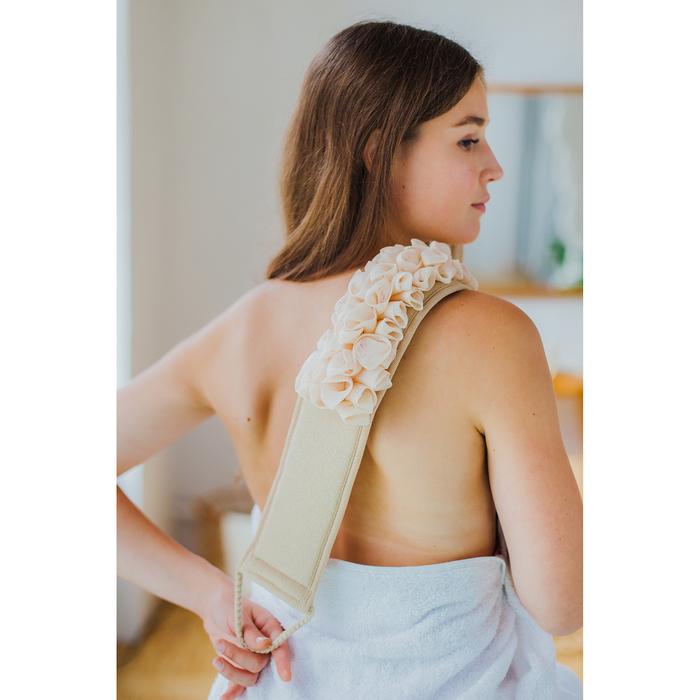 Мочалка-лента массажная Доляна, 35×12 см, цвет бежевый