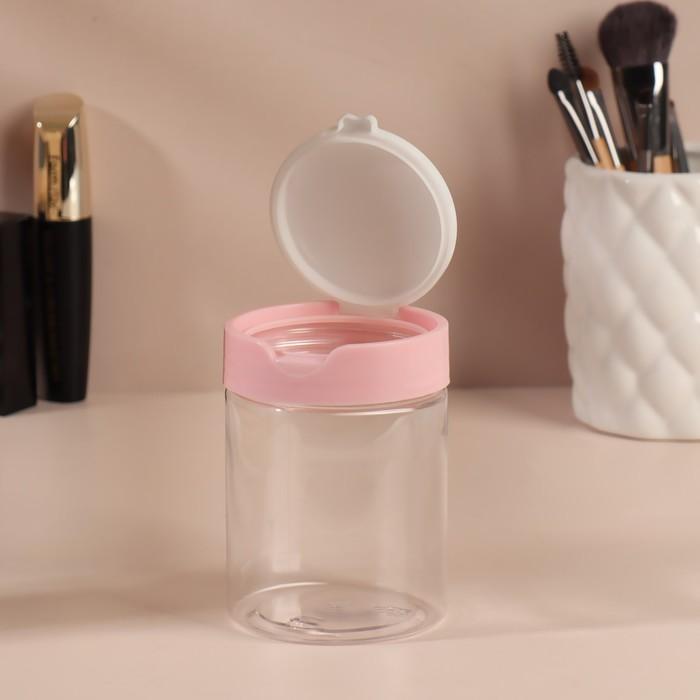 Контейнер для хранения косметических принадлежностей, с крышкой, цвет белый/розовый