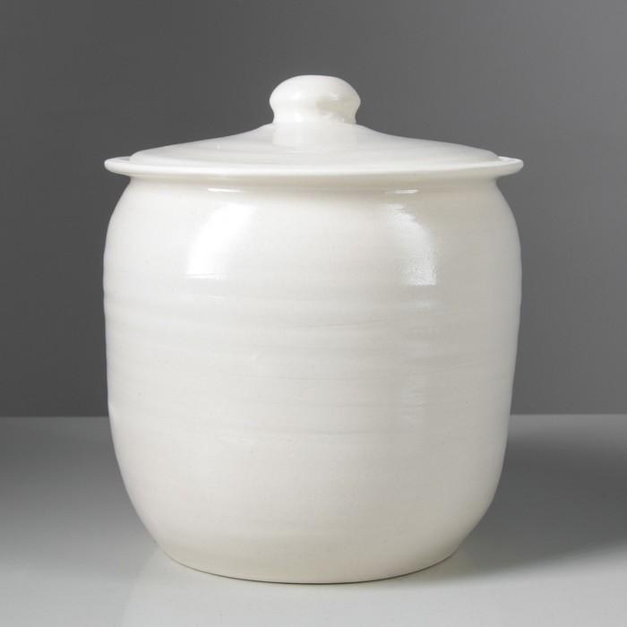 """Бочка для засолки """"Гончарная"""", белая глина, 4.5 л"""