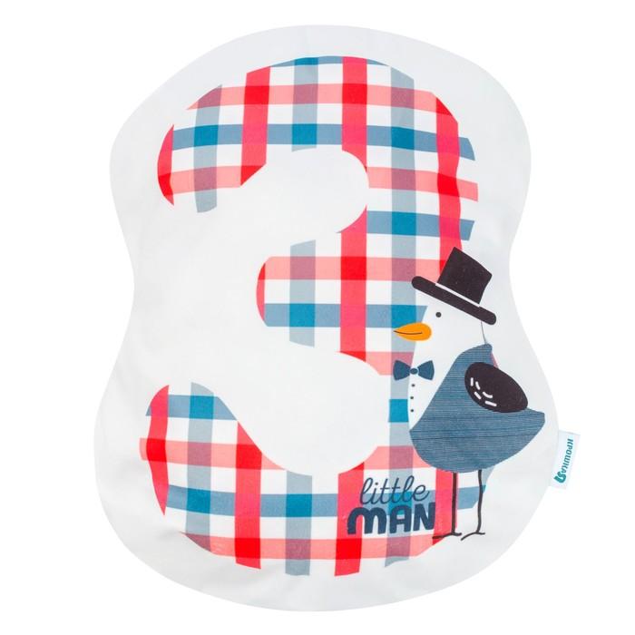 Подушка Крошка Я «3», 40 × 33 см, цвет синий, велюр, 100 % п/э