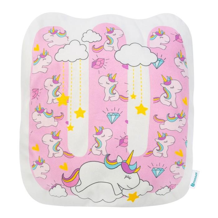 """Подушка """"Крошка Я"""" Ш, 42х46 см, розовый, велюр, 100% п/э"""