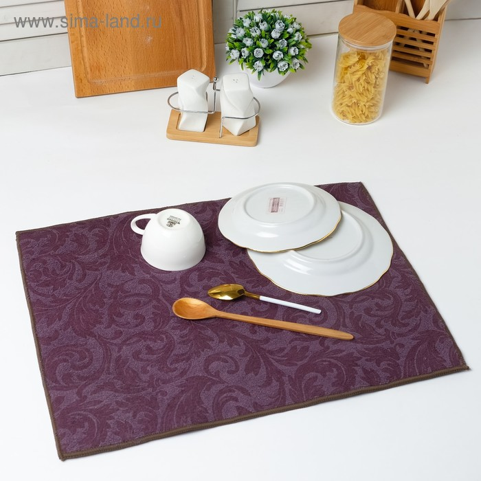 Microfiber towel for drying dishes Dolyana, color purple, 38 x 50 cm, p/e