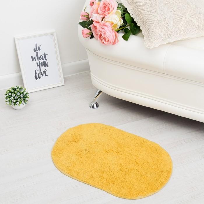 Ковер овальный «АНИКА», 40х60 ± 3 см, цвет желтый. - фото 798151200