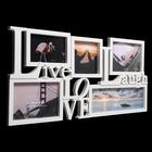 """Фоторамка на 5 фото 7,5х10,10х15,13х18, 13х13 см """"Жизнь, любовь, смех"""" белая 31х64 см - фото 7362148"""
