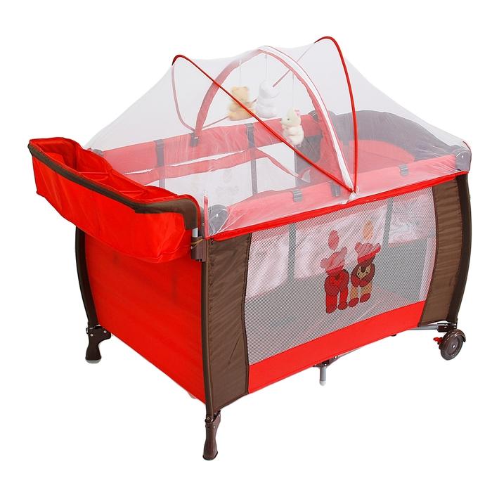 """Манеж-кровать """"Мишки"""", цвет красный"""